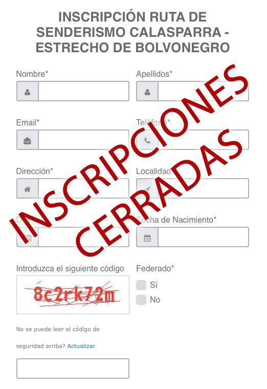 INSCRIPCIONES CERRADAS